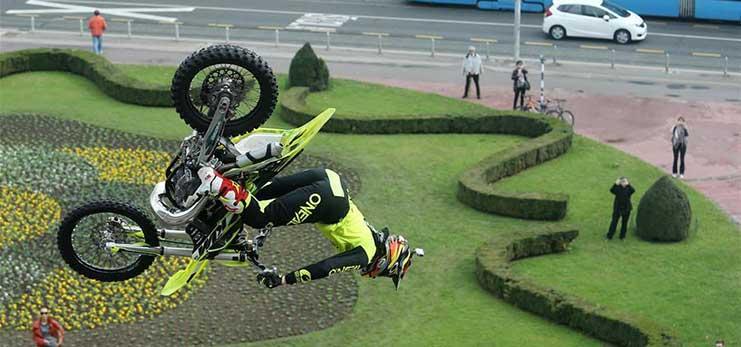 Motocross riders perform freesytle stunts in Zagreb, Croatia