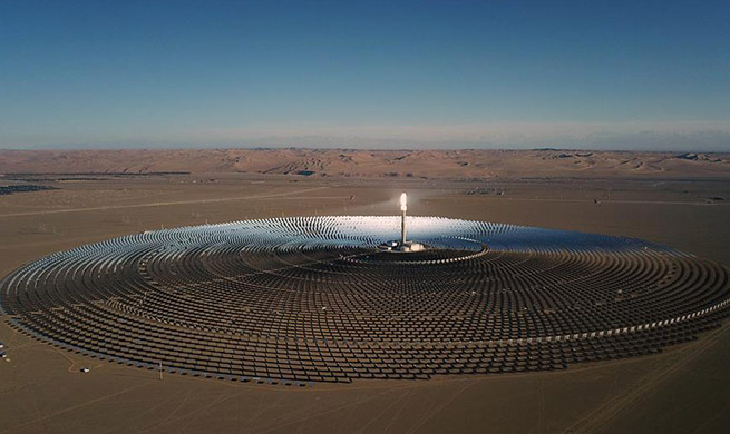 Aerial photo of heliostats of molten-salt solar thermal power plant in China's Gansu