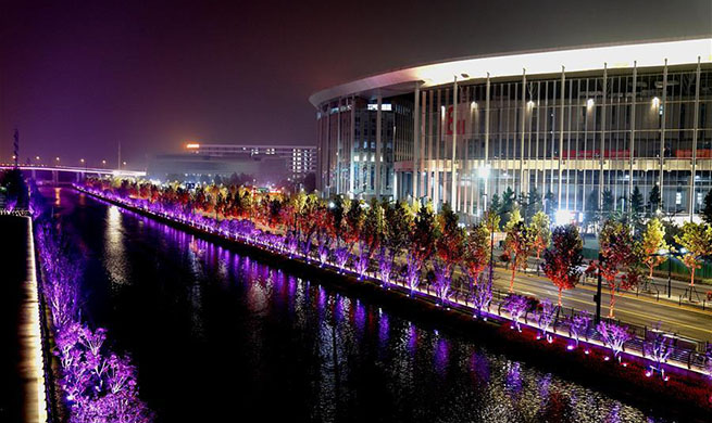 Night view near venue of 2nd CIIE in Shanghai