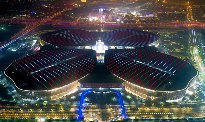 Night view of National Exhibition and Convention Center (Shanghai)