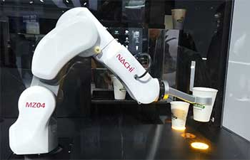 Try a coffee made by robot at CIIE