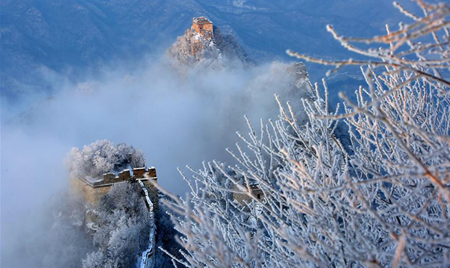 Snow scenery of Jiankou Great Wall in Huairou District of Beijing