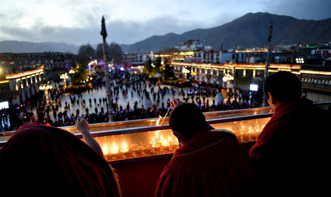 Butter Lamp Festival celebrated in Lhasa, southwest China's Tibet