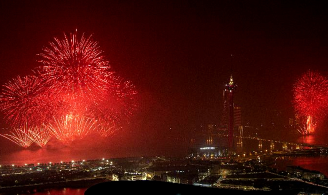 Macao, Zhuhai hold firework show to celebrate 20th anniv. of Macao's return to motherland