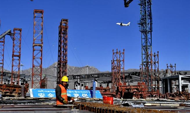 T3 terminal of Gonggar Airport under construction in Tibet
