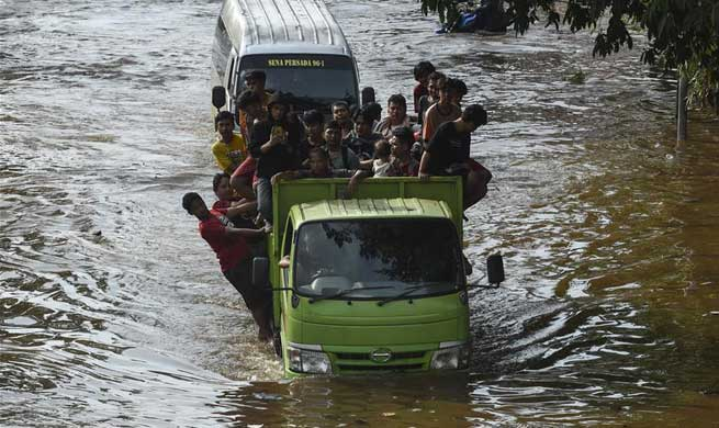 Flood waters submerge several parts of Jakarta, Indonesia