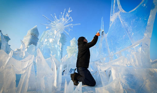 Sculptors take part in 9th China Harbin International Ice-Assemblage Championship