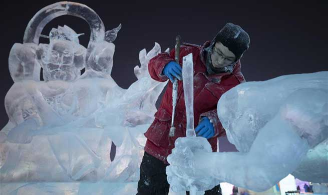 Highlights of ice sculpture championship in Harbin, NE China