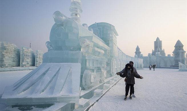 Tourists enjoys ice sculptures at Harbin Ice-Snow World in NE China's Heilongjiang