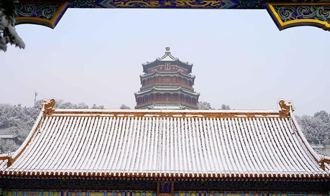 Snow scenery of Summer Palace in Beijing