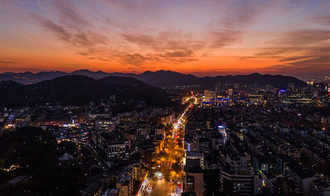 In pics: sunset glow above Hangzhou