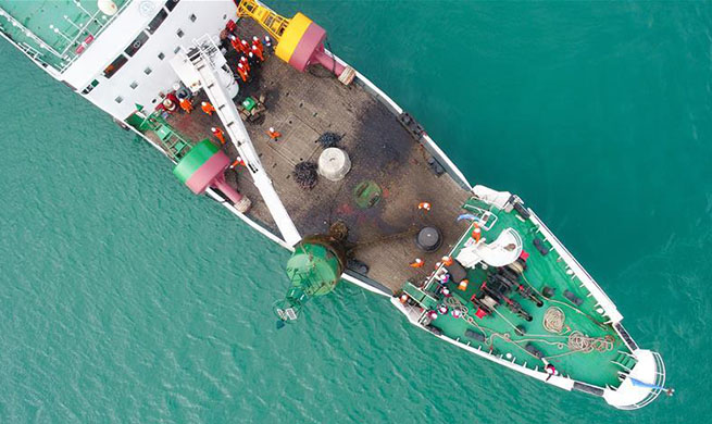 Buoys, beacons in Qiongzhou Strait updated with help of Beidou navigation marks