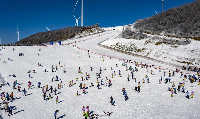 Winter scenery of Wufeng international ski park in China's Hubei