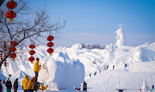 25th Harbin snow sculpture competition held in China's Heilongjiang