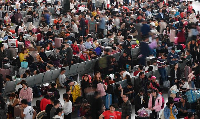 A glimpse of Guangzhou South Railway Station during Spring Festival travel rush