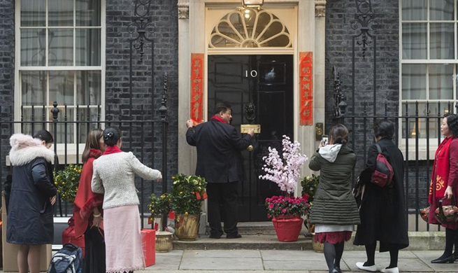 Couplets pasted outside 10 Downing Street to celebrate Chinese Lunar New Year