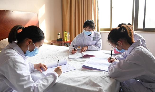 Construction workers of Leishenshan hospital in quarantine for medical observation