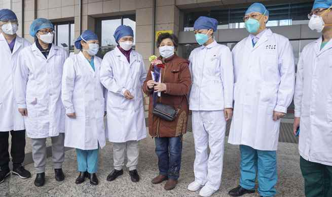 600th cured patient of COVID-19 discharged from east branch of Renmin Hospital of Wuhan University