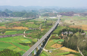 Aerial view of new high-speed railway in Guizhou, China