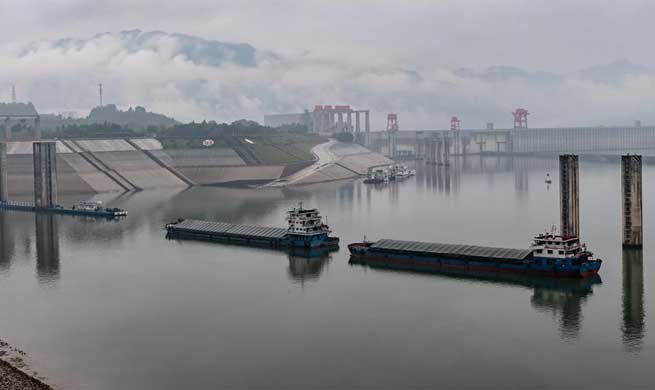 Water level of Three Gorges reservoir drops to contain water from potential seasonal flooding