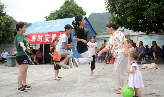 Villagers evacuated to temporary shelter after heavy rainfall in Jiefangyan Township, C China