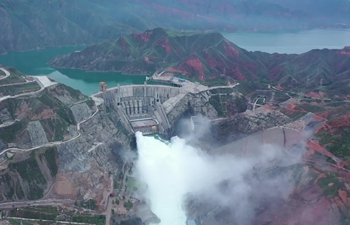 Large hydropower station in Qinghai, China opens sluice gates to fight flood