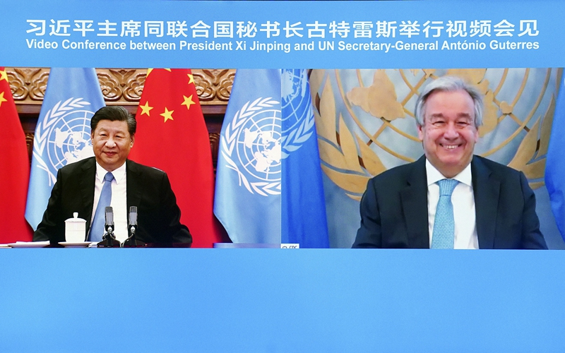 Xi, UN chief hold videoconference