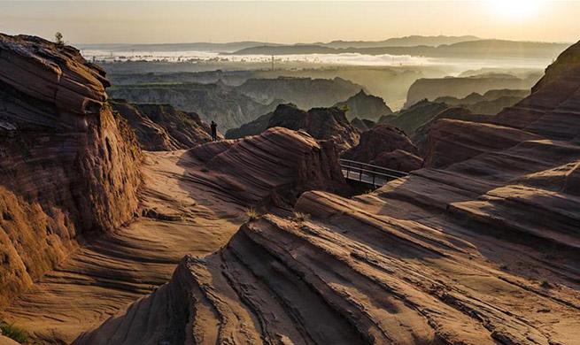 Scenery of Danxia landform scenic area in Shaanxi