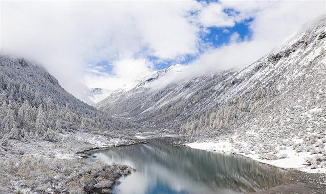 View of Majiagou scenic area in Xiaojin County of SW China's Sichuan