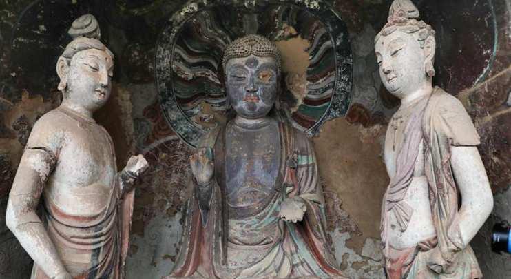 Sculptures at Maiji Mountain Grottoes in Tianshui, Gansu