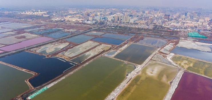 View of salt lake in Yuncheng, Shanxi