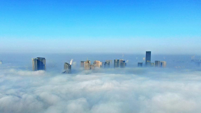 Skyscrapers shrouded in fog in China's Liaoning