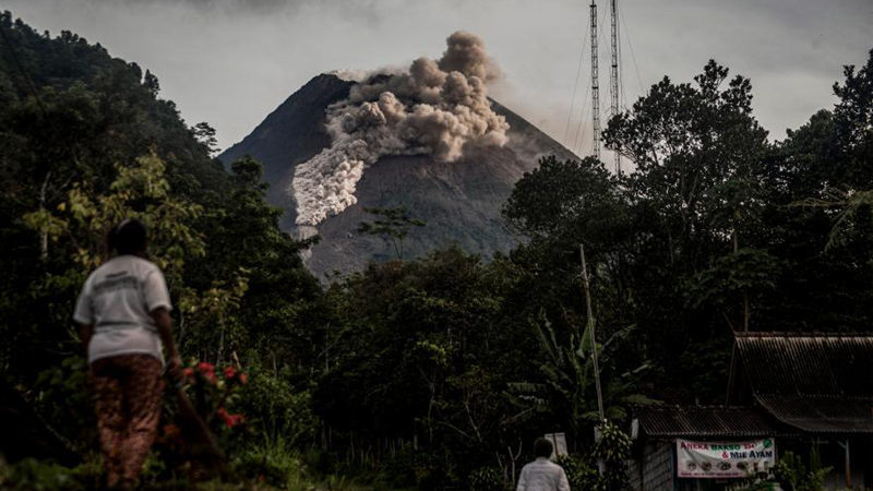 Mount Merapi in Indonesia spews volcanic materials