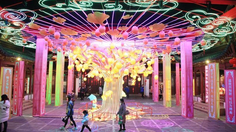 People view lanterns ahead of Chinese lantern festival in E China's Jiangsu