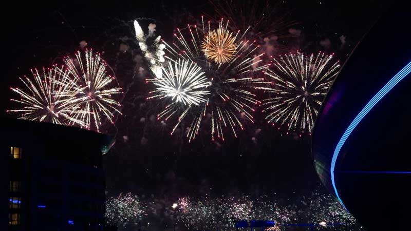 Firework show held to mark completion of terminal area of Chengdu Tianfu International Airport