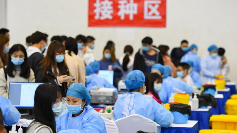 Temporary COVID-19 vaccination site set up at university in Hunan