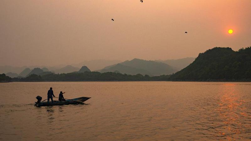 Scenery of Baihua Lake at dusk in Guiyang, Guizhou