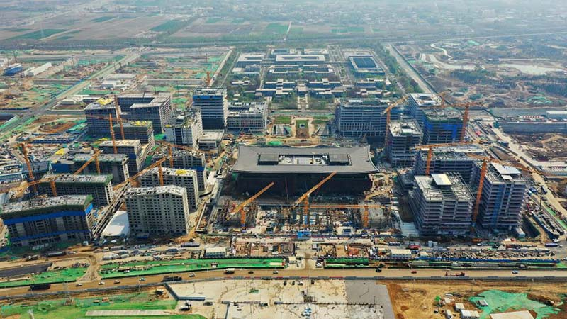 Construction site of business service center project in Xiongan New Area
