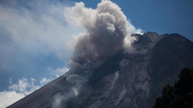 Indonesia's Mount Merapi spews white smoke