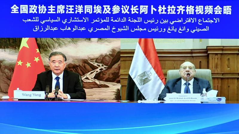 China's top political advisor meets with Egyptian Senate speaker via video link