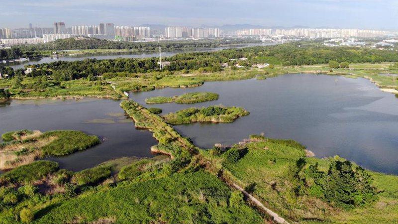 Scenery of Hutuo River in Shijiazhuang, N China