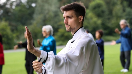 Chinese martial arts lovers practice Taiji in Brussels