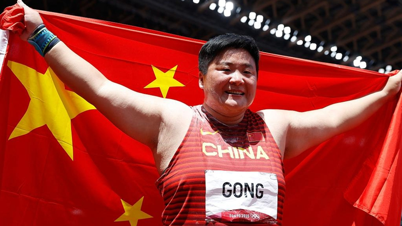 China's shot putter Gong Lijiao wins her first Olympic gold at Tokyo 2020
