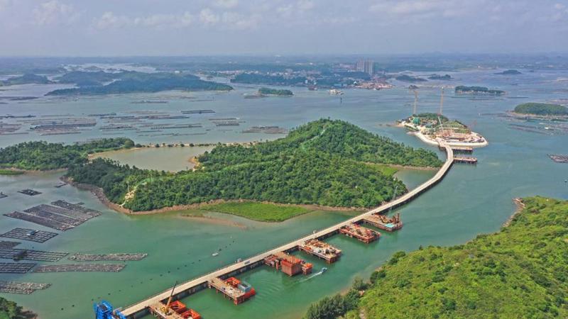 Cross-sea bridge under construction in Qinzhou, south China's Guangxi