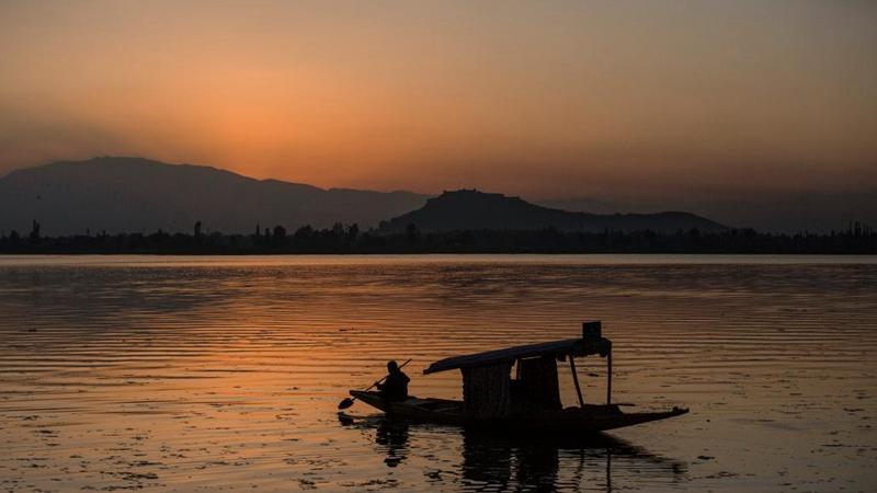 Scenery of sunset in Srinagar, Indian-controlled Kashmir