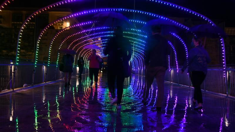 Streets adorned with illuminations for Light Up Valletta in Malta