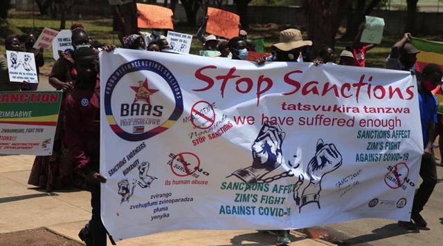 Zimbabweans march against U.S.-imposed sanctions