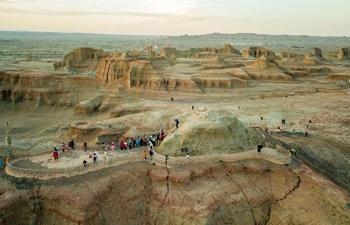 View of Yardang scenic area in China's Xinjiang
