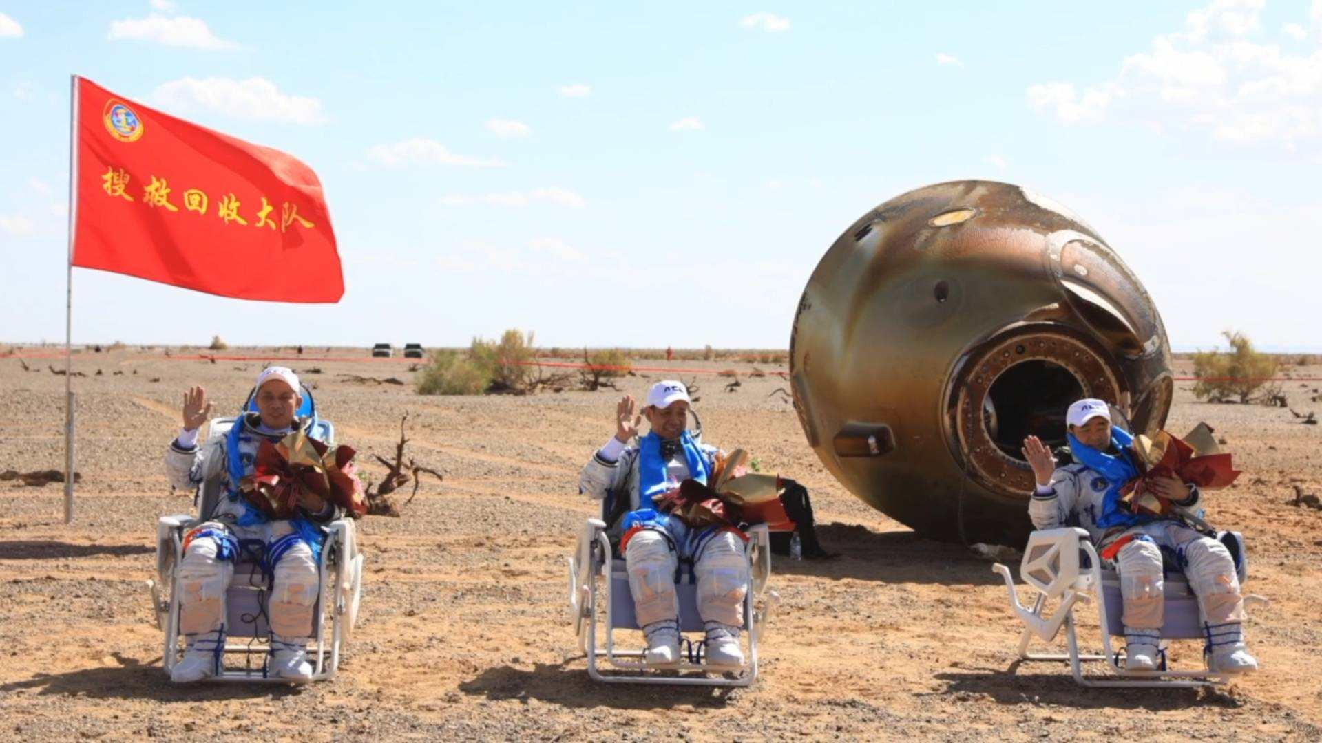 GLOBALink | Shenzhou-12 crew returns home