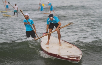 Palestinians compete during first water sports championship in Gaza city